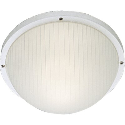Progress Lighting Polycarbonate Round Incandescent 1 Light Outdoor Flush Mount