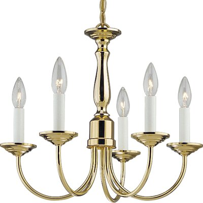 Progress Lighting Brushed Nickel 5 Light Candle Light Chandelier