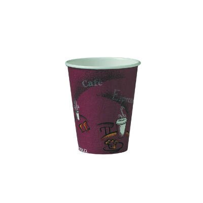 Solo Cups 8 Oz Polylined Paper Hot Drink Cups Bistro Design in Maroon