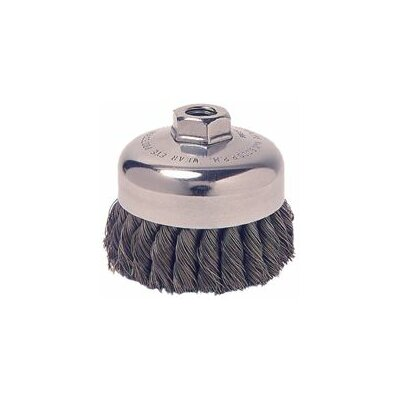 "Weiler 3/4"" Single Row General Duty .020"" Knot Steel Wire Cup Brush With 5/8"" - 11 UNC Arbor Hole"