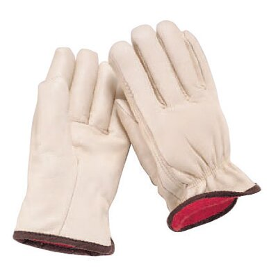 Wells Lamont Medium White Grain Cowhide Fleece Over Foam Lined Gunn Cut Drivers Gloves With Straight Thumb