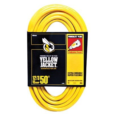 Woods Wire Woods Wire - Yellow Jacket Power Cords 50' 12/3 Yellowjacket Ext.Cord: 860-2884 - 50' 12/3 yellowjacket ext.cord