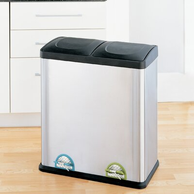 OIA Step-On Multi Compartment 15.85 Gallon Multi Compartment Recycling Bin