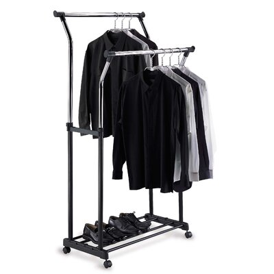 Double Adjustable Garment Rack in Black and Chrome
