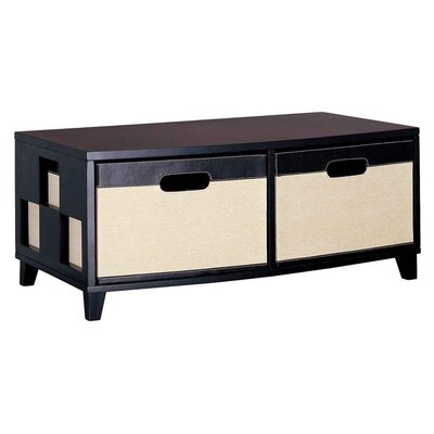 OIA Jute Two Drawer Chest in Dark Brown and Linen