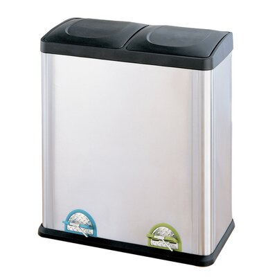 OIA 15.85-Gal. 2 Compartment Step-On Recycling Bin