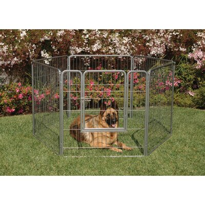 "Precision Pet Products Courtyard Kennel 38"" Exercise Pen in Silver Crackle"