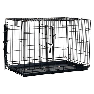 Great Crate Two-Door Dog Crate with Divider Panel in Black