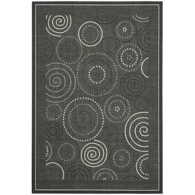 Courtyard Black/Sand Circle Rug