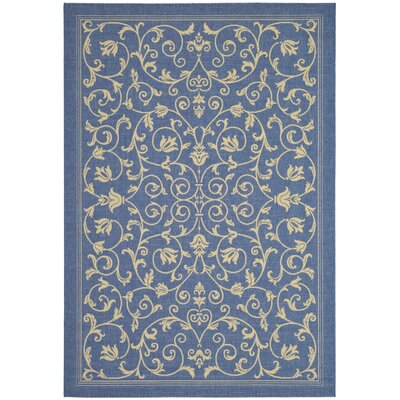Safavieh Courtyard Floral Blue & Natural Rug