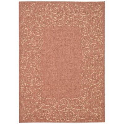 Safavieh Courtyard Rust/Sand Leaves Rug