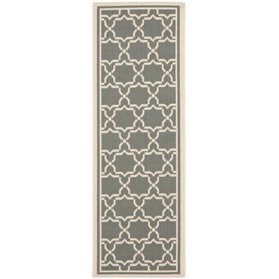 Safavieh Courtyard Anthracite / Beige Outdoor Rug