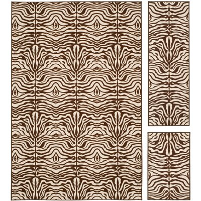 Safavieh Metropolis Creme / Brown Rug (Set of 3)