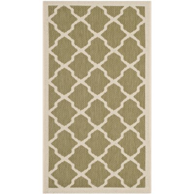 Safavieh Courtyard Green / Beige Outdoor Rug