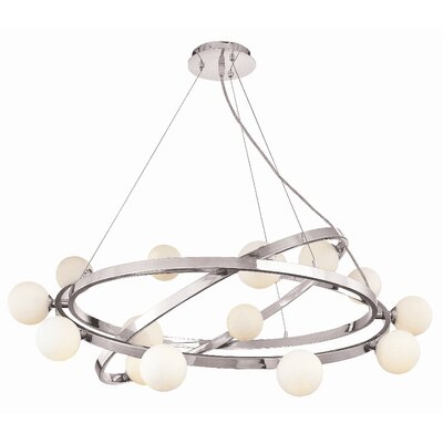 Access Lighting Nitrogen 15 Light Cable Articulating Chandelier with Opal Glass