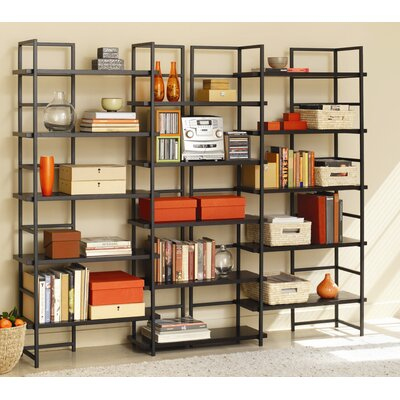 TFG Connections Bookcase with Java Oak Shelves in Powder Coated Black