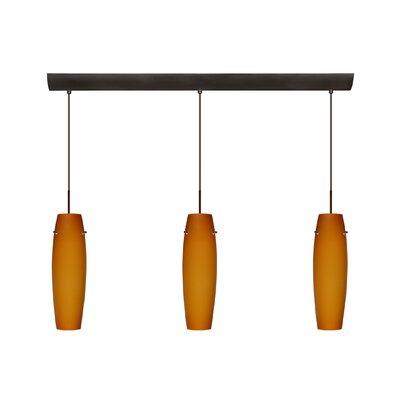 Besa Lighting Suzi 3 Light Cord Hung Mini Pendant with Bar Canopy