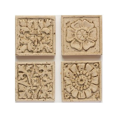 "Mohawk Flooring Artistic Accent Statements 2"" x 2"" Carved Applique Insert in Travertine"