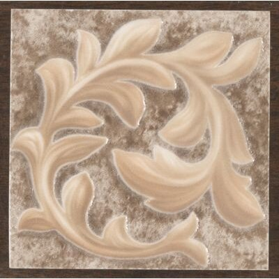 "Mohawk Flooring Natural Primabella 4"" x 4"" Cascading Leaves Decorative Corner Tile in Espresso"