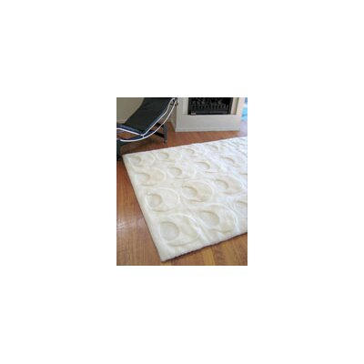 Bowron Sheepskin Shortwool Solar White Crescent Design Rug