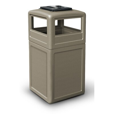 Commercial Zone 38 Gallon Square Waste Container with Ashtray Dome Lid