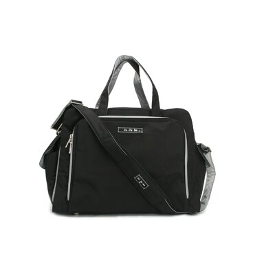 Be Prepared Messenger Diaper Bag in Black/Silver