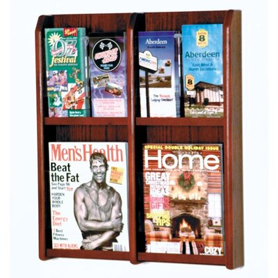 Wooden Mallet Four Magazine and Eight Brochure Oak and Acrylic Wall Display