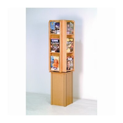 Wooden Mallet Free Standing Twelve Pocket Rotary Literature Display