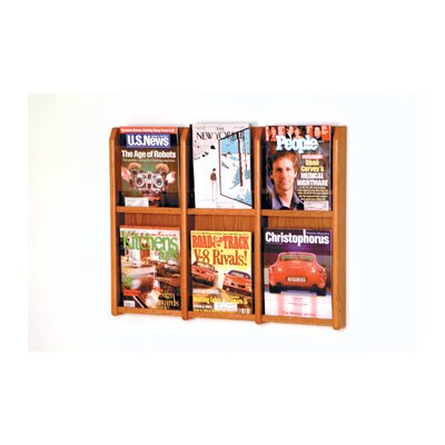 Wooden Mallet Six Magazine Oak and Acrylic Wall Display
