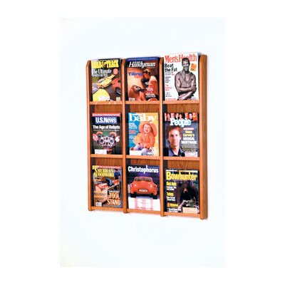 Wooden Mallet Nine Magazine Oak and Acrylic Wall Display with Optional Floor Stand