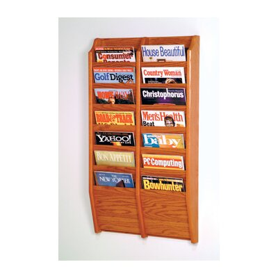 Wooden Mallet Fourteen Pocket Wall Mount Magazine Rack