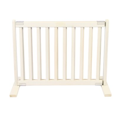"Dynamic Accents 20"" All Wood Small Free Standing Pet Gate in Warm White"