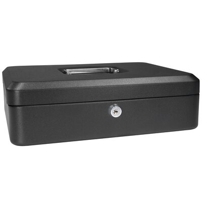 Large Black Cash Box with Key Lock