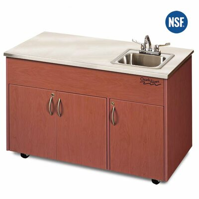 "Ozark River Portable Sinks Silver Advantage 48"" x 24"" Single Bowl Portable Sink with Storage Cabinet"