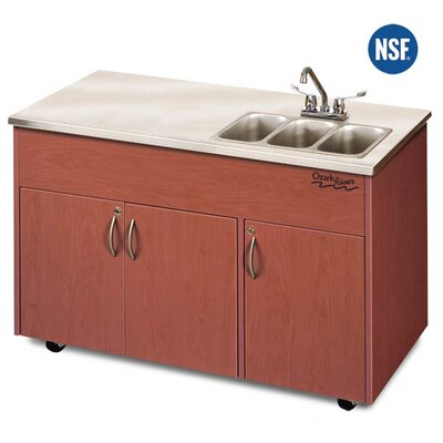"Ozark River Portable Sinks Silver Advantage 48"" x 24"" Triple Bowl Portable Handwash Station with Storage Cabinet"