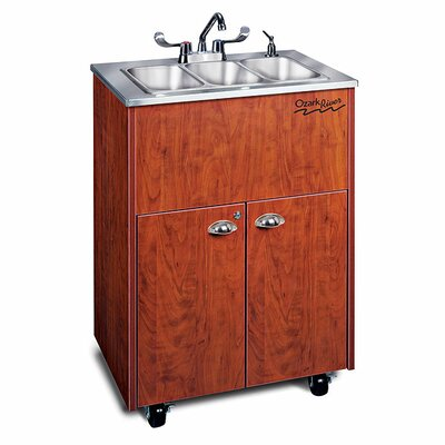 "Ozark River Portable Sinks Silver 26"" x 18""  Premier 3 Portable Triple Hand Washing Station with Storage Cabinet"