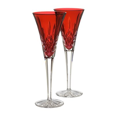 Lismore Crimson Flute Glass (Set of 2)
