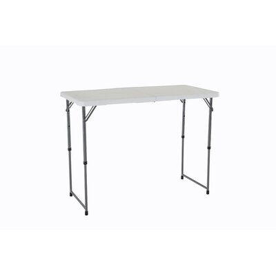 4' Adjustable Fold-in-Half Table in White Granite