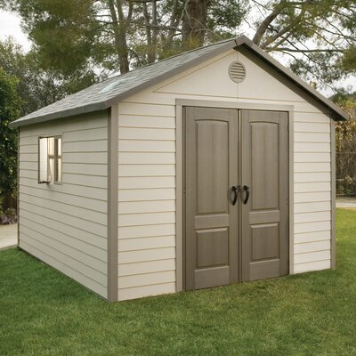 "Lifetime 10'3.5"" W x 12'9.5"" D Plastic Storage Shed"