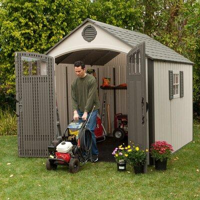 """Lifetime Premium 7'8.75"""" W x 9'7.5"""" D Plastic Garden Shed"""