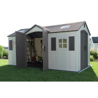 "Lifetime Dual Entry 7'8.75"" W x 14'7.5"" D Steel and Plastic Garden Shed"