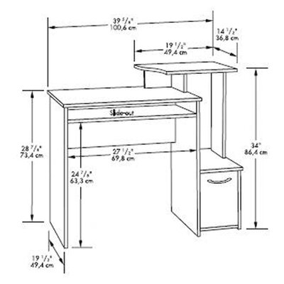 Sauder Beginnings Office Computer Desk with Elevated Shelf