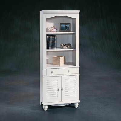 Sauder Harbor View Library with Doors in Distressed Antiqued White