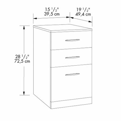Sauder Via Three Drawer Pedestal in Classic Cherry