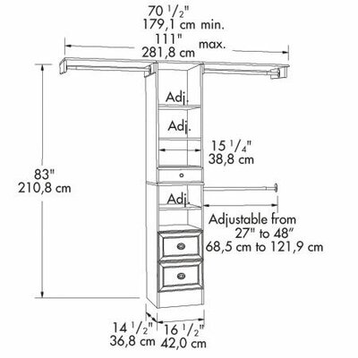 "Sauder Lancaster 14.5"" Deep Closet Box Cabinet"