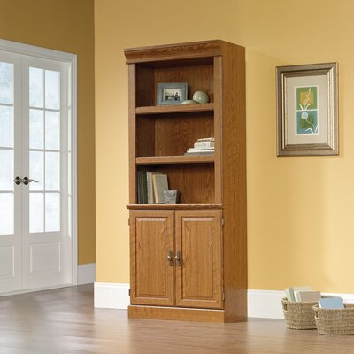 Sauder Orchard Hills Library Bookcase with Doors in Carolina Oak