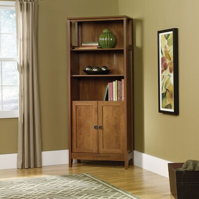 August Hill Library Bookcase with Doors in Oiled Oak