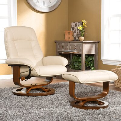 Shaw Bonded Leather Ergonomic Recliner and Ottoman