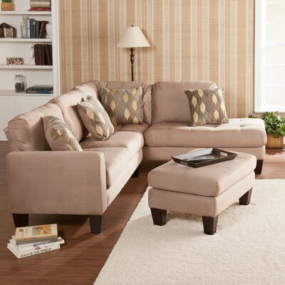 Wildon Home ® Peckman Upholstered Sectional Sofa with Ottoman