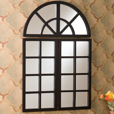 Ghent 3 Piece Windowpane Mirror Set in Distressed Black